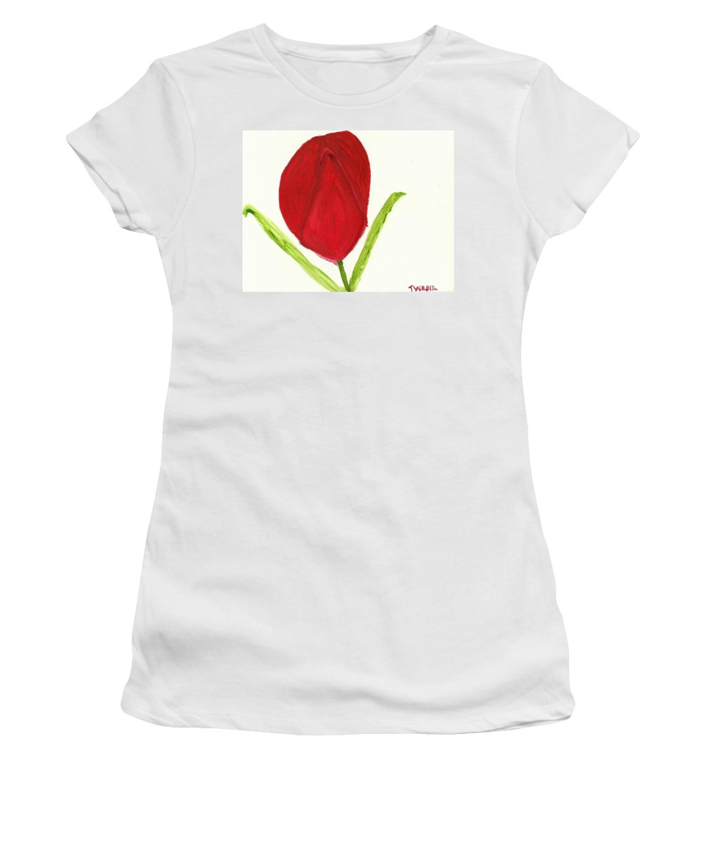 Tulip Of The Heart Women's T-Shirt featuring the painting Tulip Of The Heart by Tracey Williams