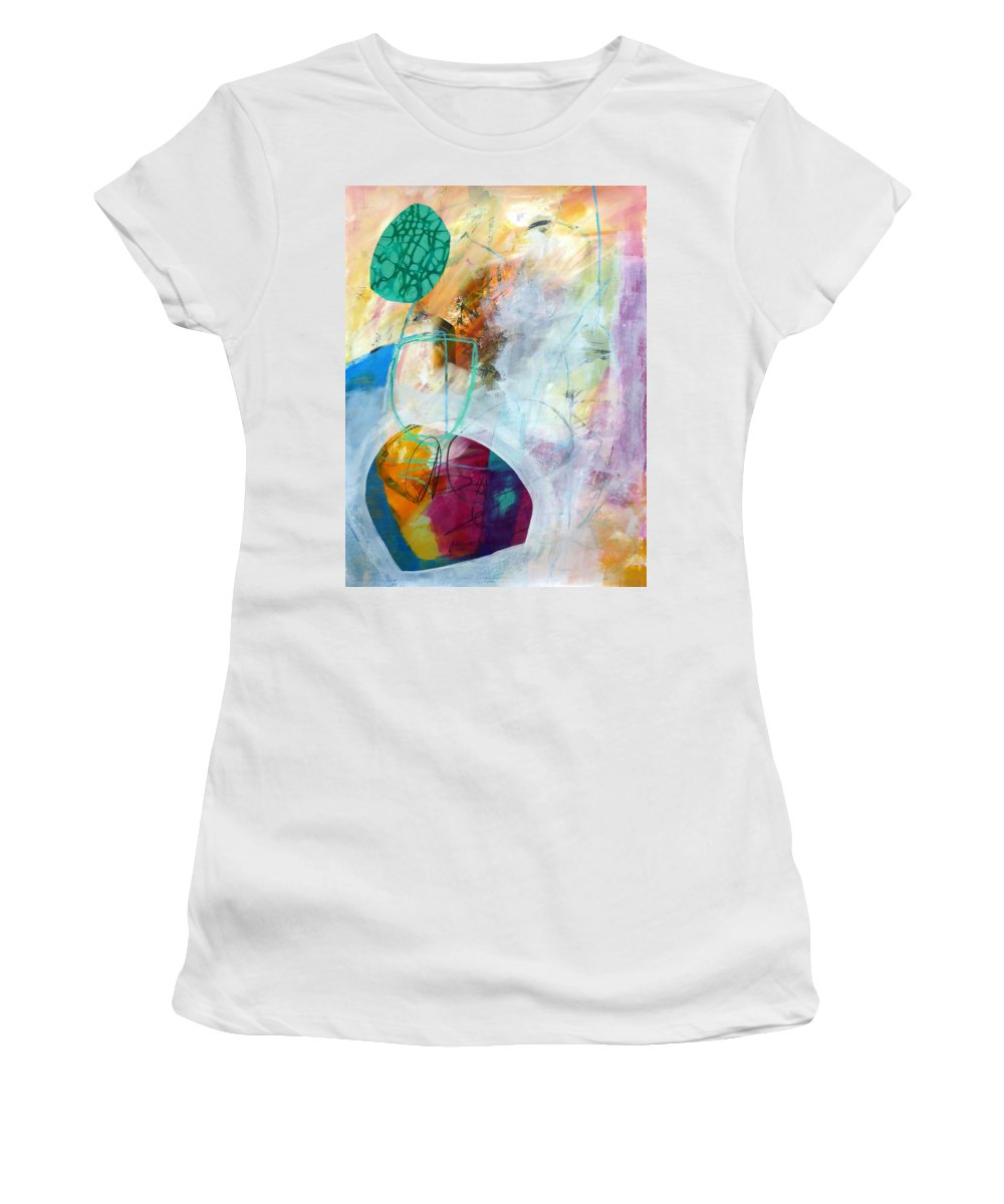 Keywords: Abstract Women's T-Shirt featuring the painting Tumble Down 5 by Jane Davies