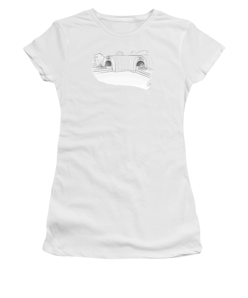 (tunnel Of Love Ride Intersects With A Tunnel Of Voyeurism Ride) Women's T-Shirt featuring the drawing Tunnel Of Love Ride Intersects With A Tunnel by Paul Noth