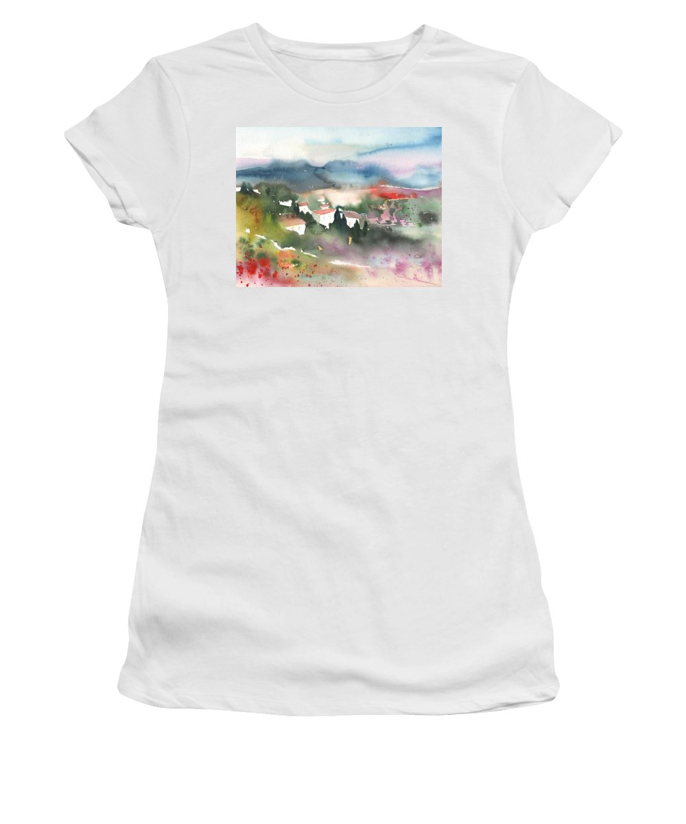 Landscapes Women's T-Shirt (Athletic Fit) featuring the painting Tuscany Landscape 01 by Miki De Goodaboom