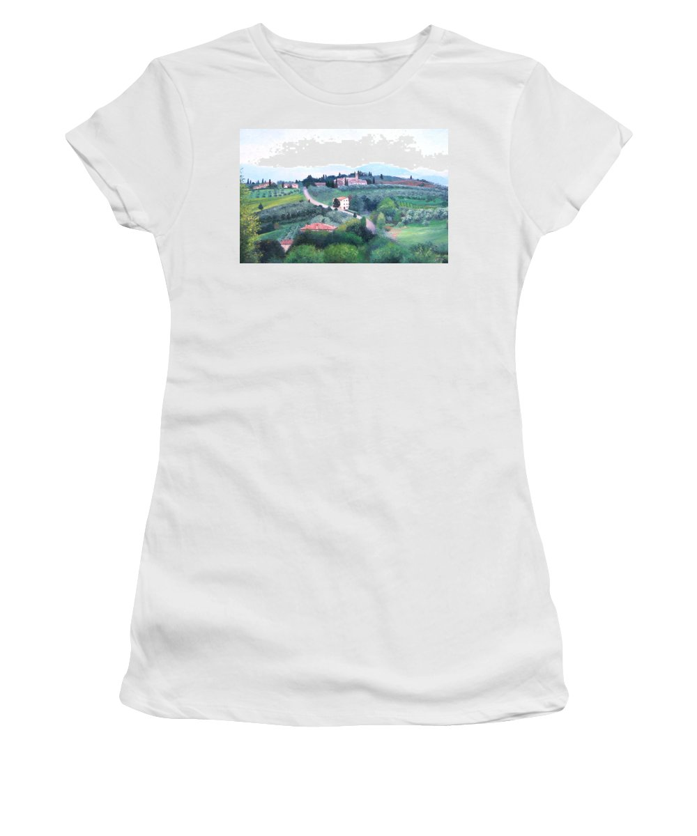 Tuscany Women's T-Shirt featuring the painting Tuscany Landscape by Jan Matson