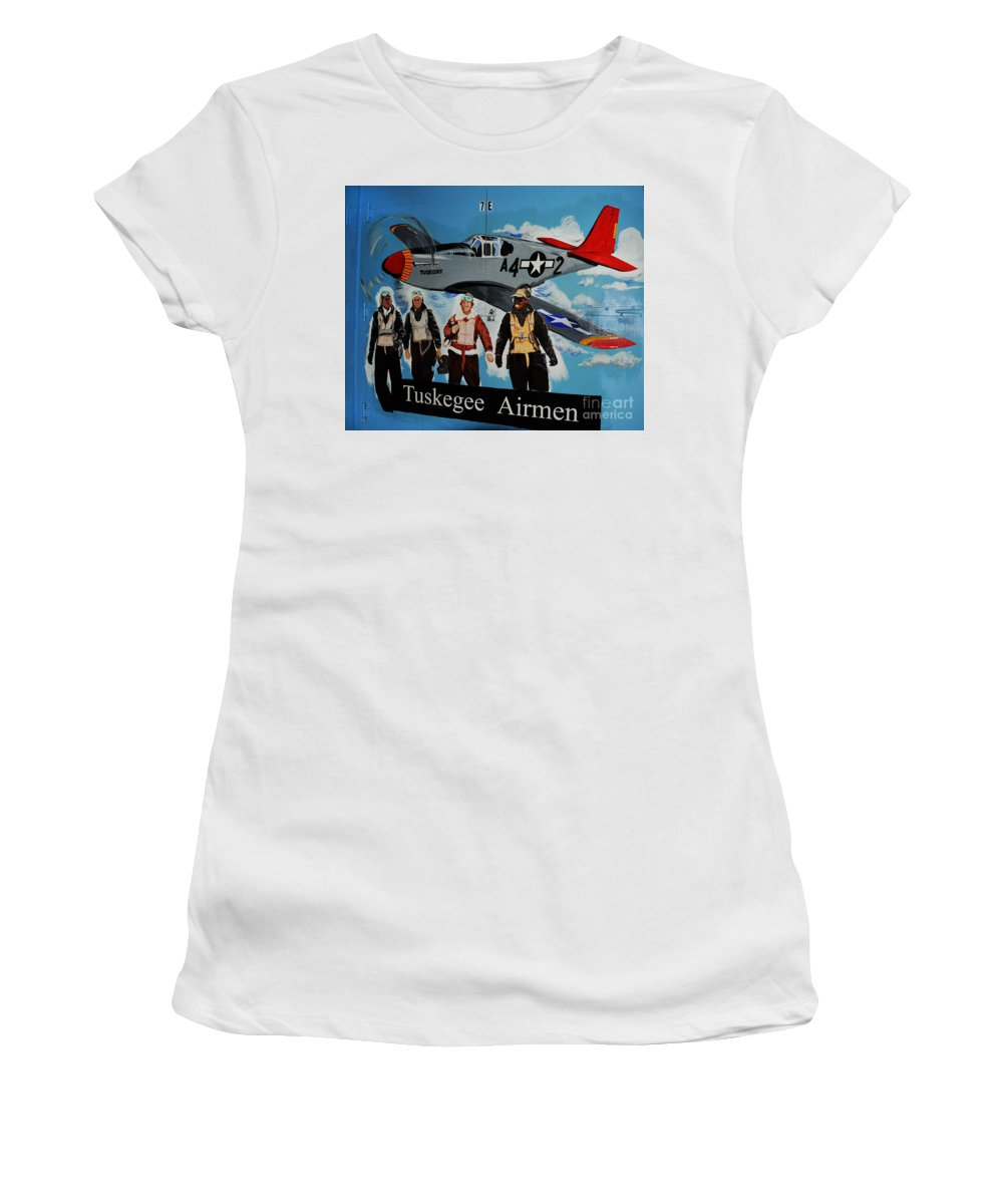 Redtails Women's T-Shirt featuring the photograph Tuskegee Airmen by Leon Hollins III