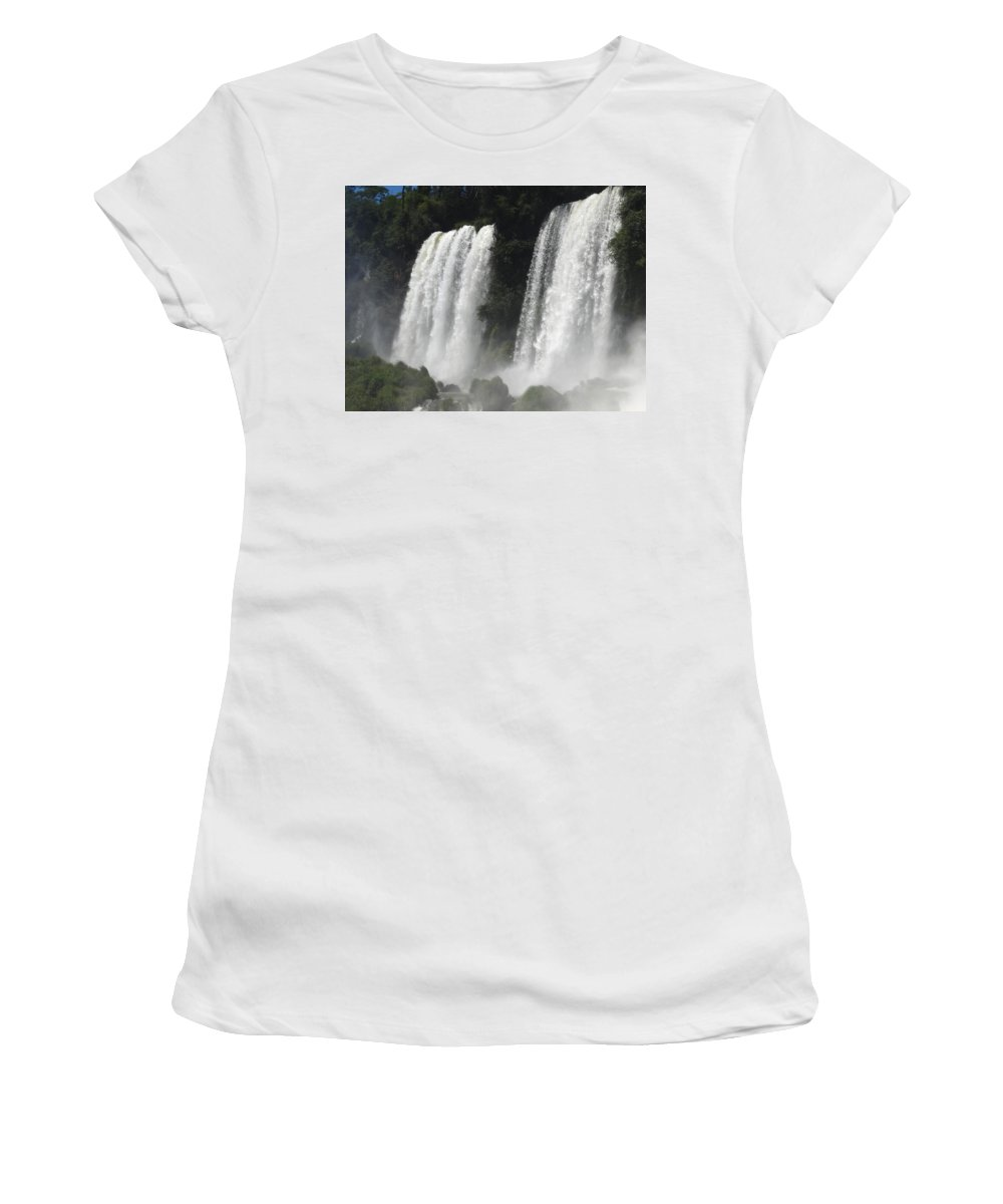 Waterfall Women's T-Shirt (Athletic Fit) featuring the photograph Twin Falls by Ginny Barklow
