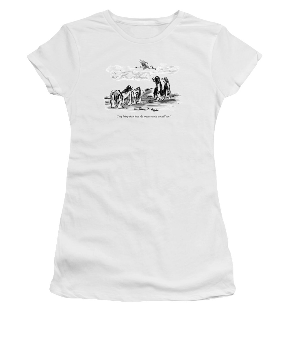 Neanderthal Women's T-Shirt featuring the drawing Two Cro-magnons Walk By Two Hunched And More by Lee Lorenz
