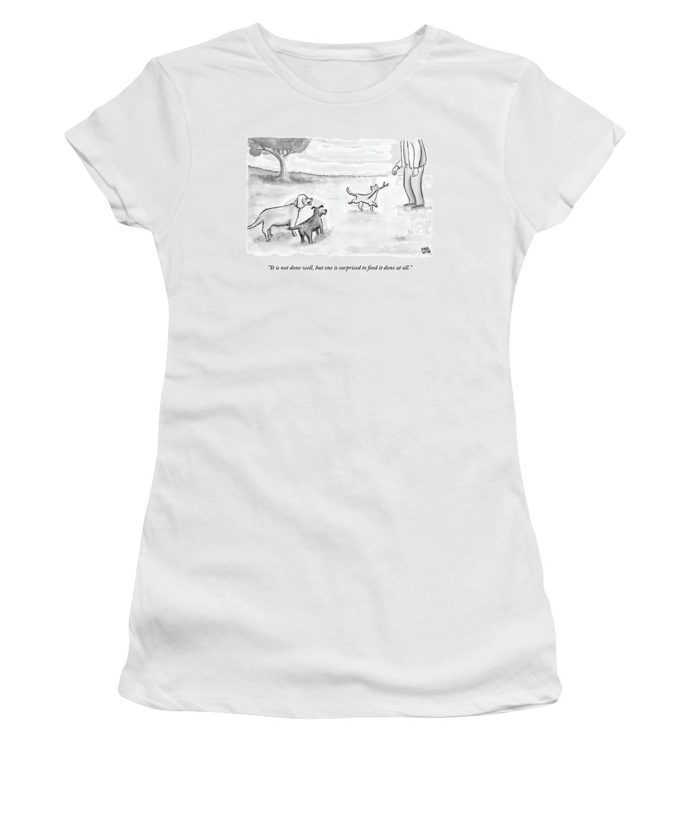 Cats Women's T-Shirt featuring the drawing Two Dogs Criticize A Cat Who Has Just Retrieved by Paul Noth