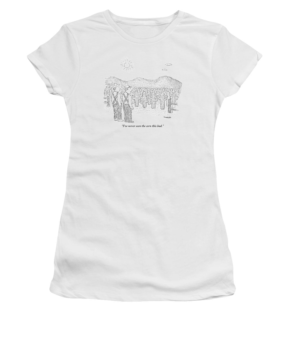Farmers Women's T-Shirt featuring the drawing Two Farmers Stand By A Tractor by Robert Mankoff
