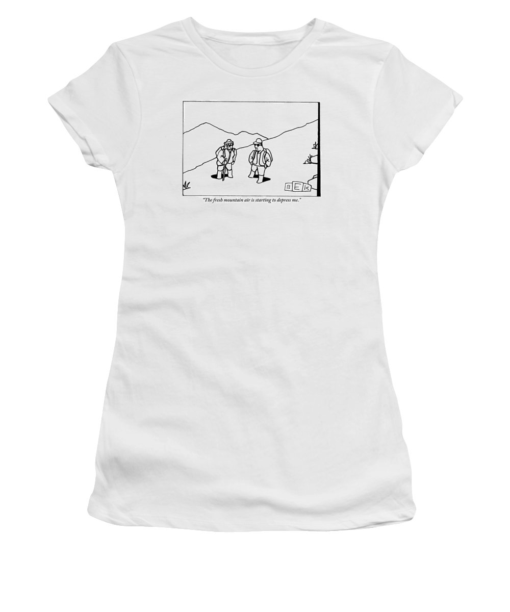 Fresh Air Women's T-Shirt featuring the drawing Two Hikers Are Talking To Each Other Outdoors by Bruce Eric Kaplan
