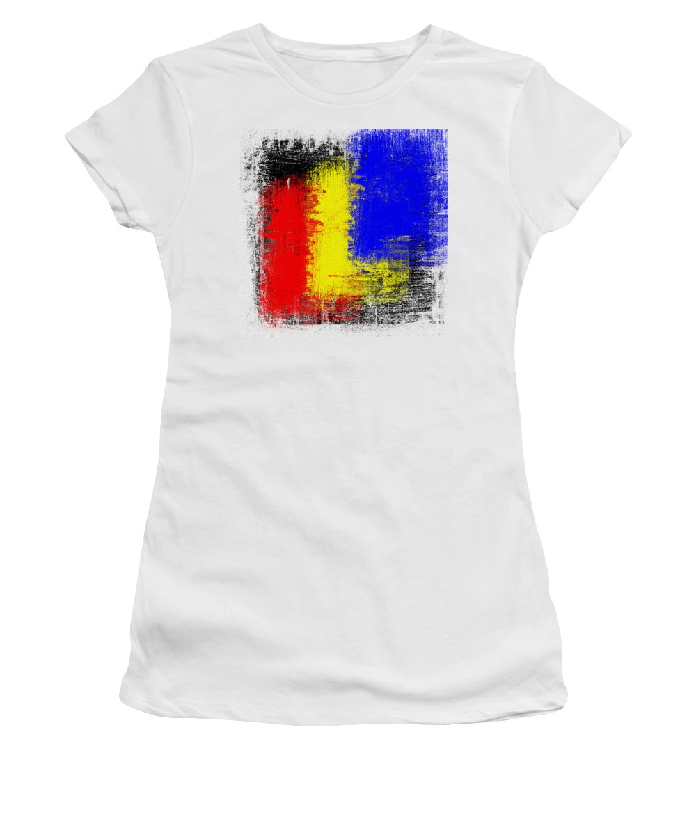 Abstract Women's T-Shirt (Athletic Fit) featuring the painting Two In One Out by Bob Orsillo