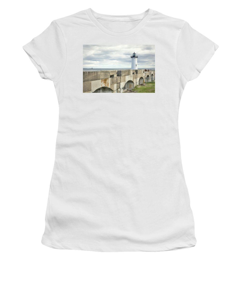 Two Lights Women's T-Shirt featuring the photograph Two Lights by Eric Gendron