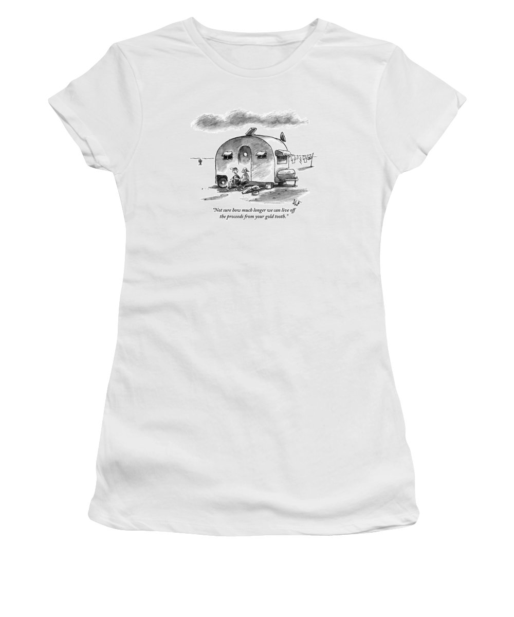 Dog Women's T-Shirt featuring the drawing Two Men And A Dog Are Seen Sitting by Frank Cotham