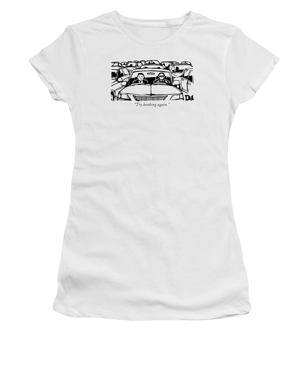 Traffic Jams Women's T-Shirt featuring the drawing Two Men In A Car Are Stuck In Traffic by Drew Dernavich