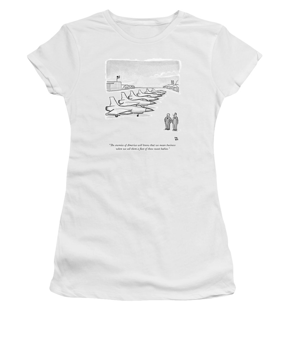 Military Women's T-Shirt featuring the drawing Two Men Look At A Hanger Of Fighter Jets by Paul Noth