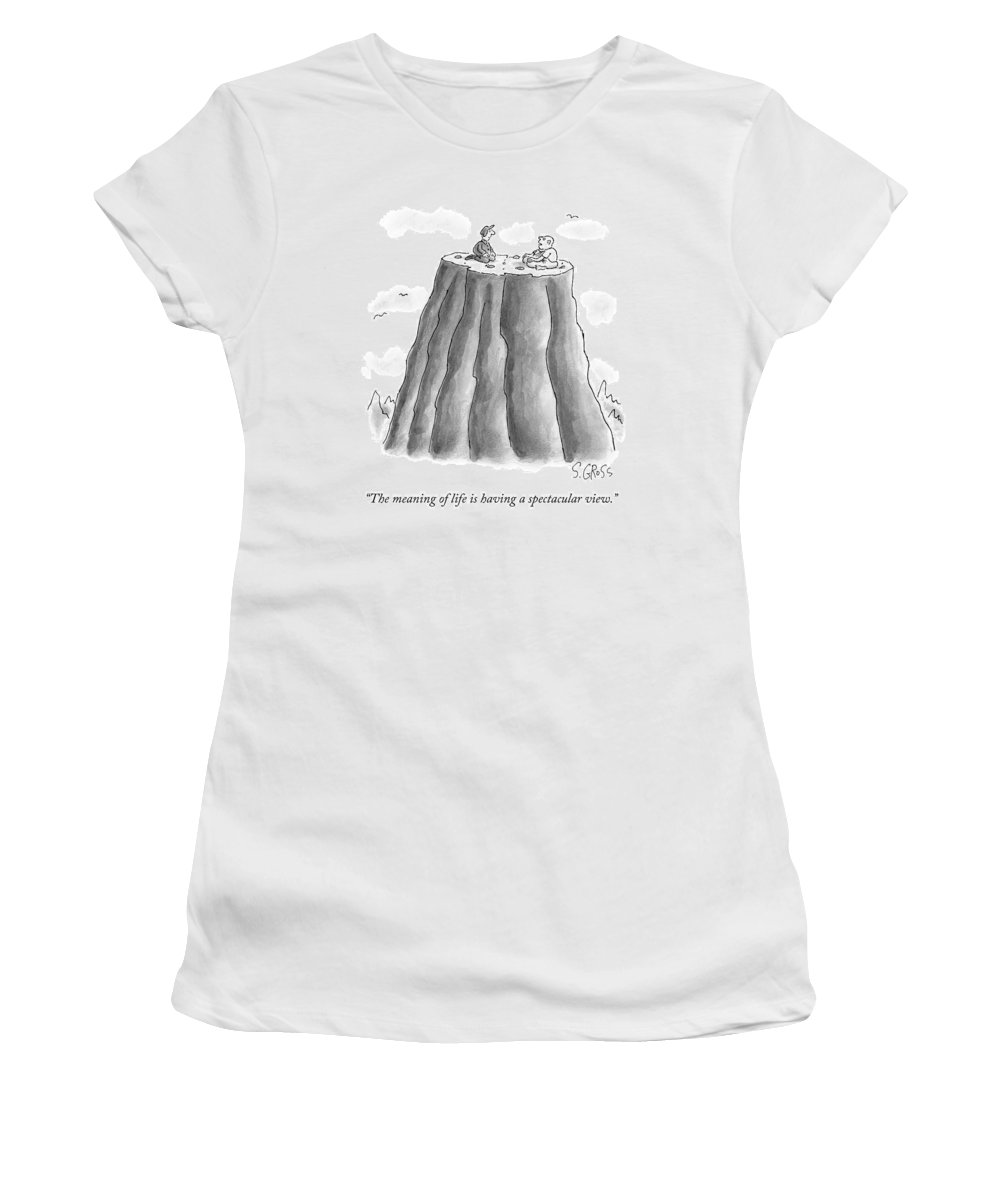 Plateau Women's T-Shirt featuring the drawing Two Men On Top Of The Plateau Of A Large Mountain by Sam Gross