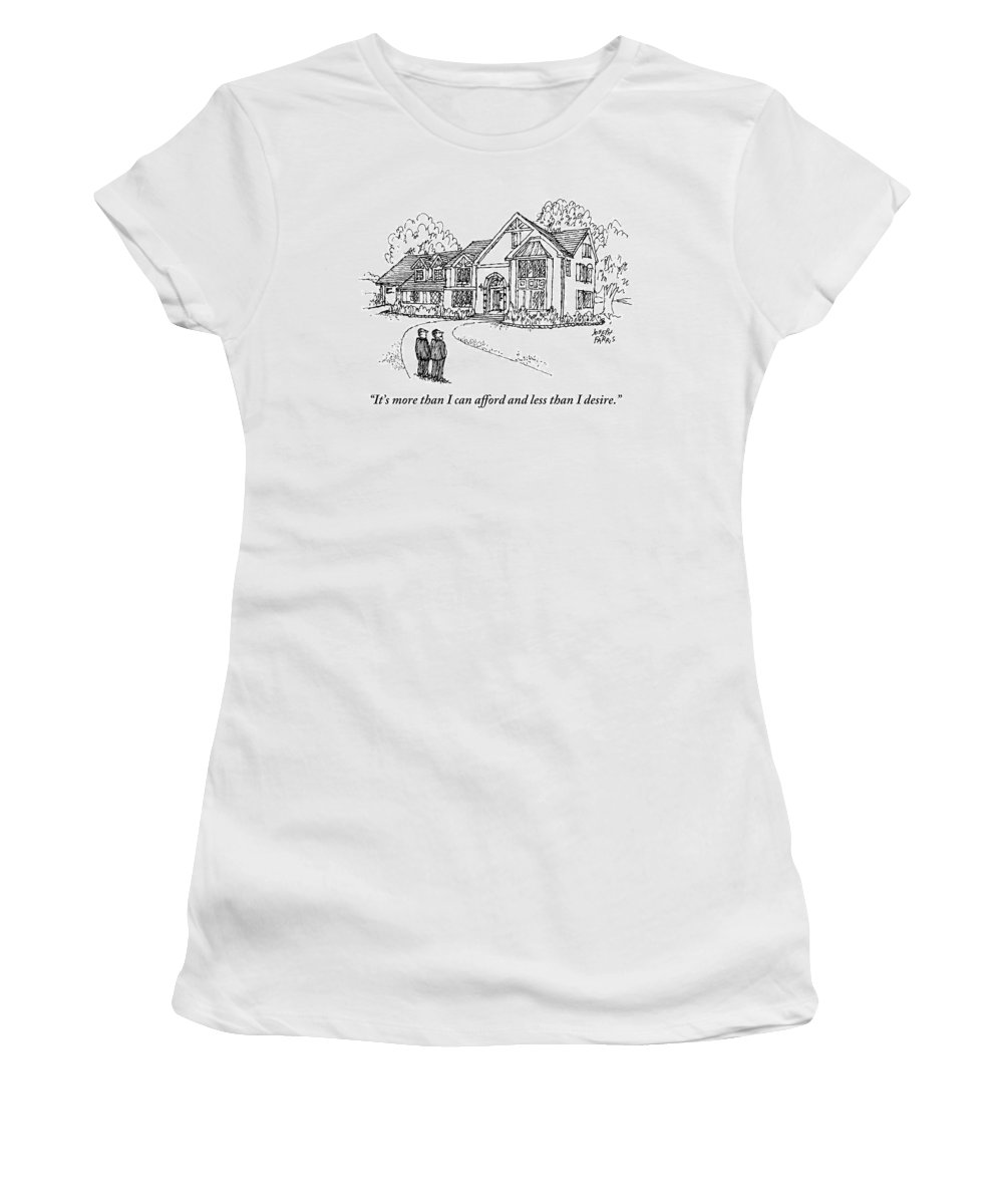 Real Estate Women's T-Shirt featuring the drawing Two Men Stand Looking At A Large House by Joseph Farris