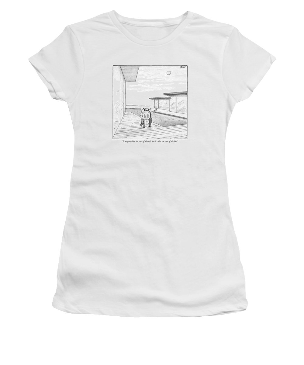 Money Women's T-Shirt featuring the drawing Two Men Touring The Outside Of A Big House by Harry Bliss