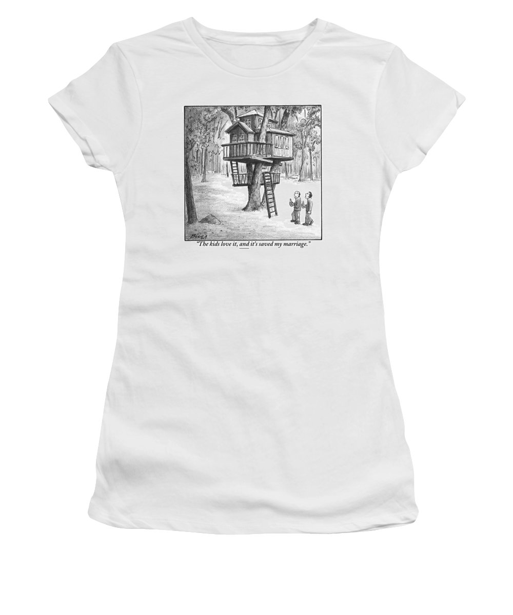 Treehouses Women's T-Shirt featuring the drawing Two Men With Beers Are Seen Walking Towards by Harry Bliss