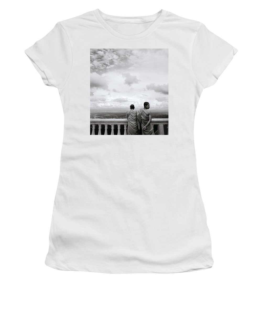 Chiang Women's T-Shirt (Athletic Fit) featuring the photograph Two Monks by Shaun Higson