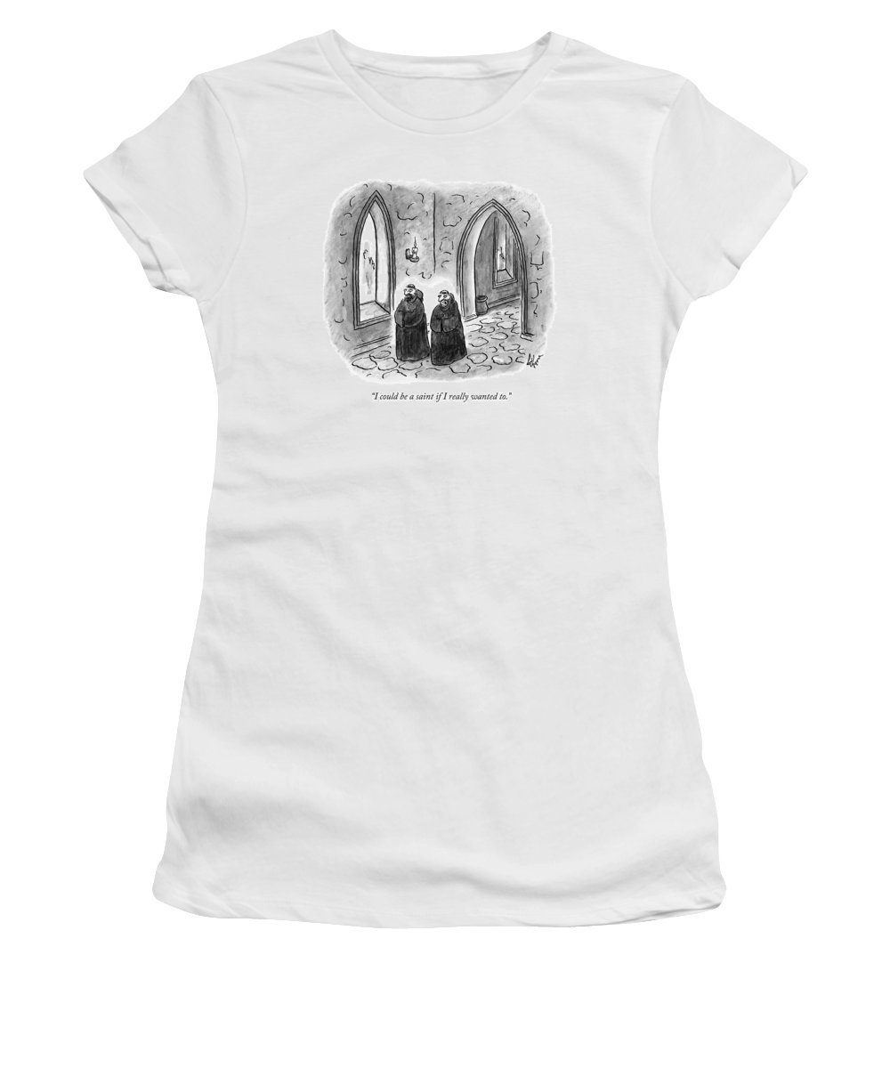 Monk Women's T-Shirt featuring the drawing Two Monks Walk Through A Monastery by Frank Cotham