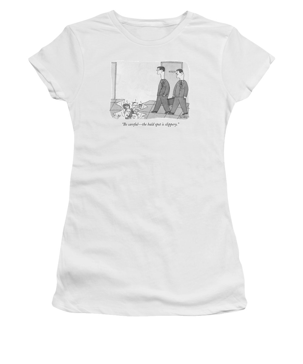 Cctk Office Women's T-Shirt featuring the drawing Two Office Workers Approach A Hole In The Ground by Peter C. Vey