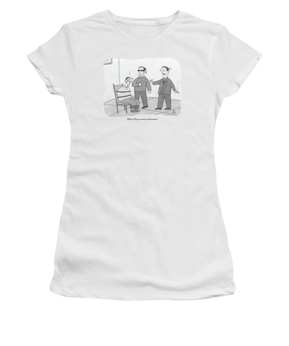 Interrogation Women's T-Shirt featuring the drawing Two People Interrogate A Suspect by Peter C. Vey