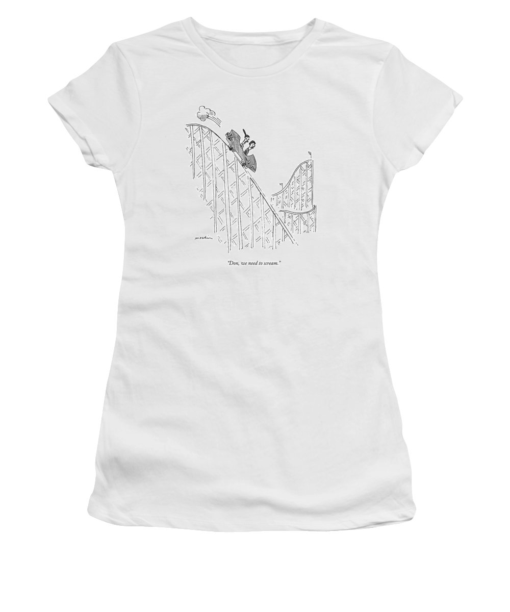Roller Coaster Women's T-Shirt featuring the drawing Two People Ride A Roller Coaster by Michael Maslin