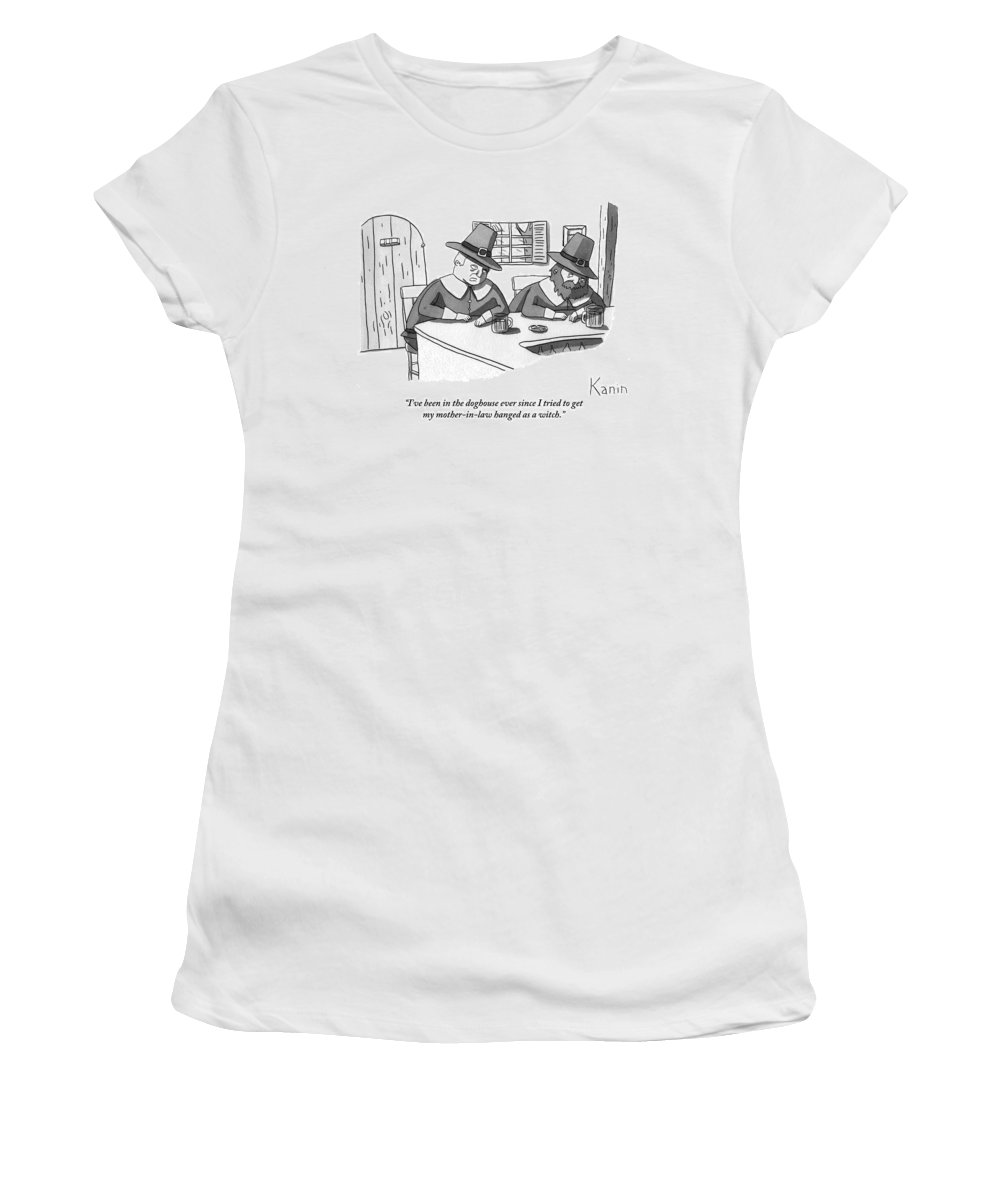 Puritans Women's T-Shirt featuring the drawing Two Puritan Men Sit At A Bar Together by Zachary Kanin