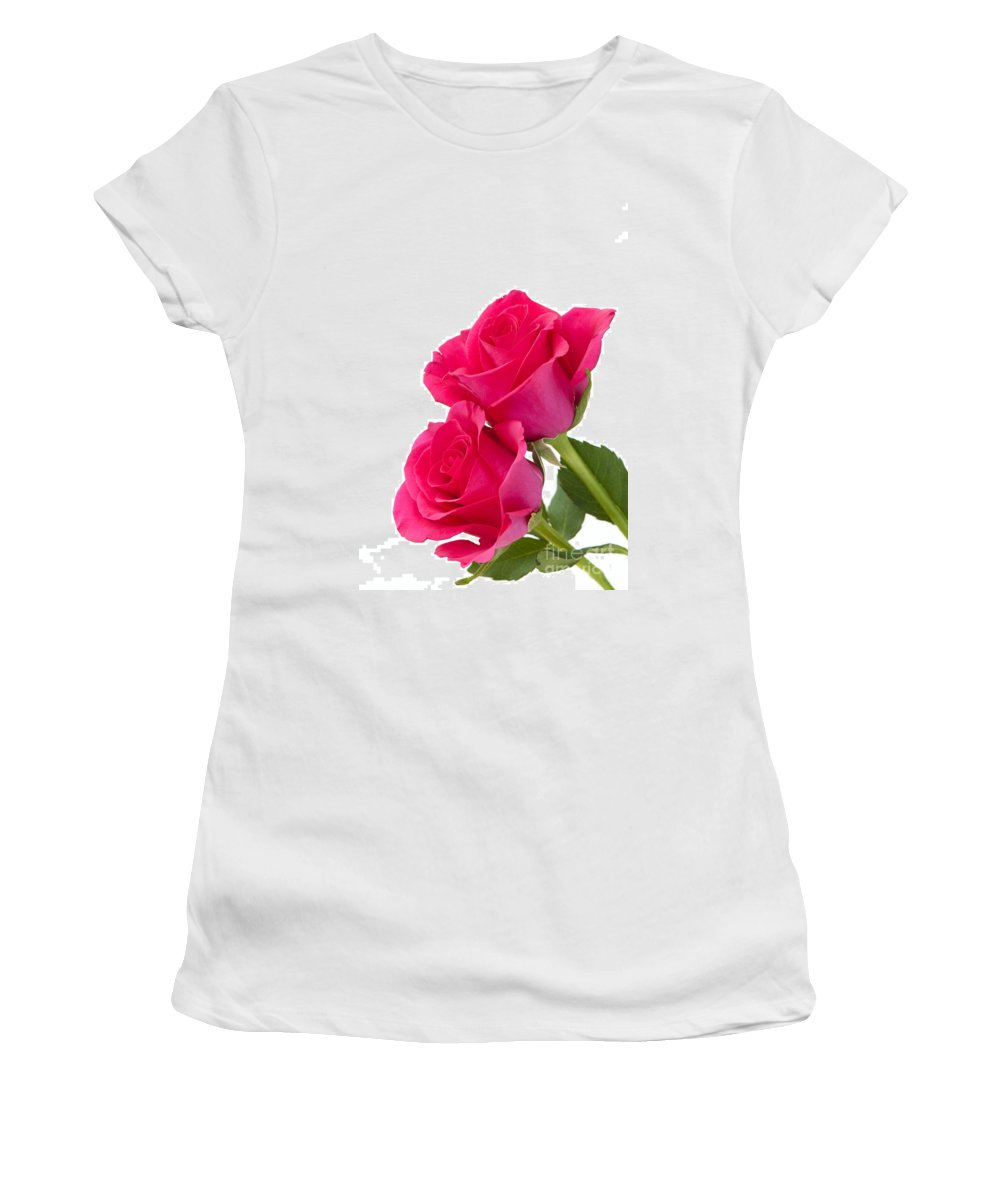 Annegilbert Women's T-Shirt (Athletic Fit) featuring the photograph Two Roses by Anne Gilbert