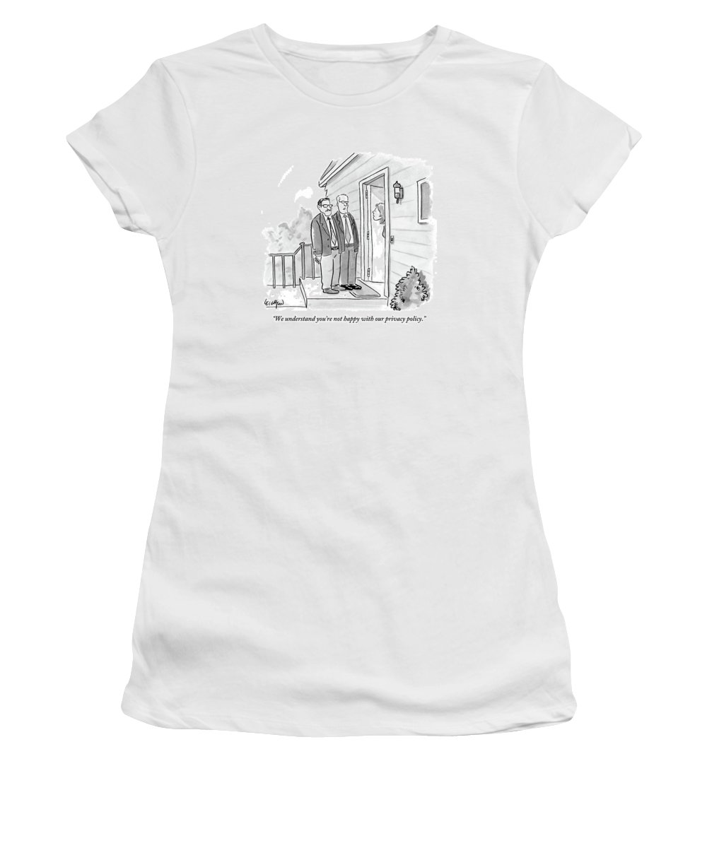 Privacy Women's T-Shirt featuring the drawing Two Suited Men Stand On The Doorstep Of A House by Robert Leighton