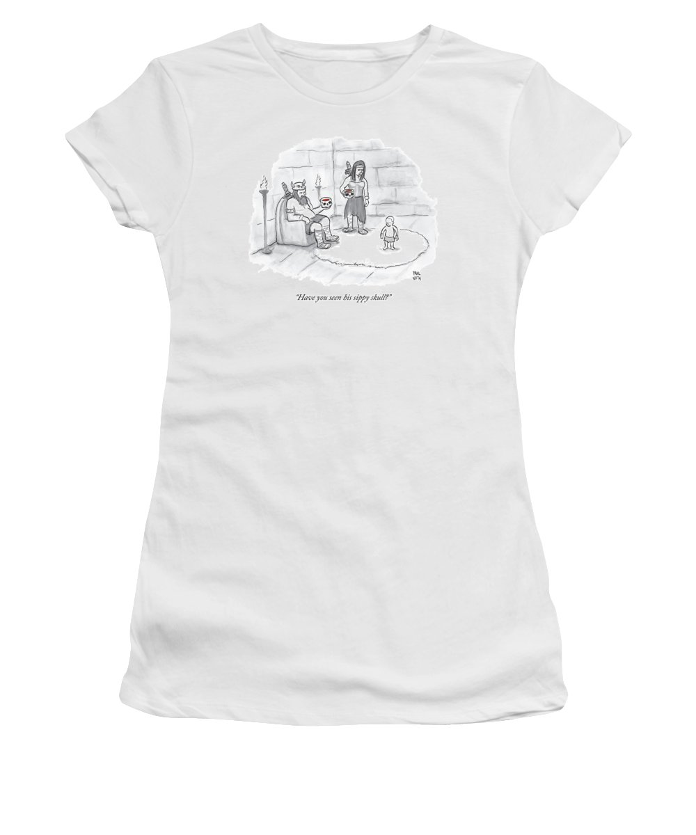 Parenting Women's T-Shirt featuring the drawing Two Viking Parents Address Their Child by Paul Noth