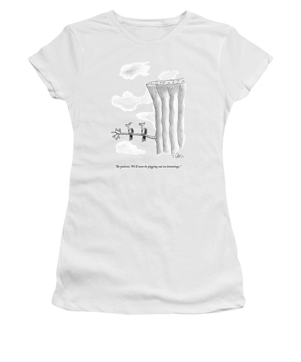 Lemmings Women's T-Shirt featuring the drawing Two Vultures Are Perched On A Branch by Sam Gross