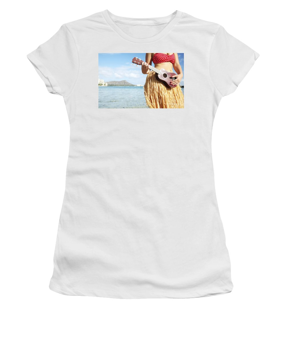 Aloha Women's T-Shirt featuring the photograph Ukulele Dancer by Brandon Tabiolo