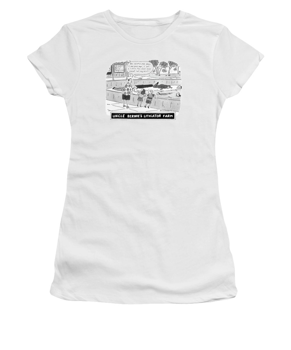 Law Women's T-Shirt featuring the drawing Uncle Bernie's Litigator Farm Be Careful by Danny Shanahan