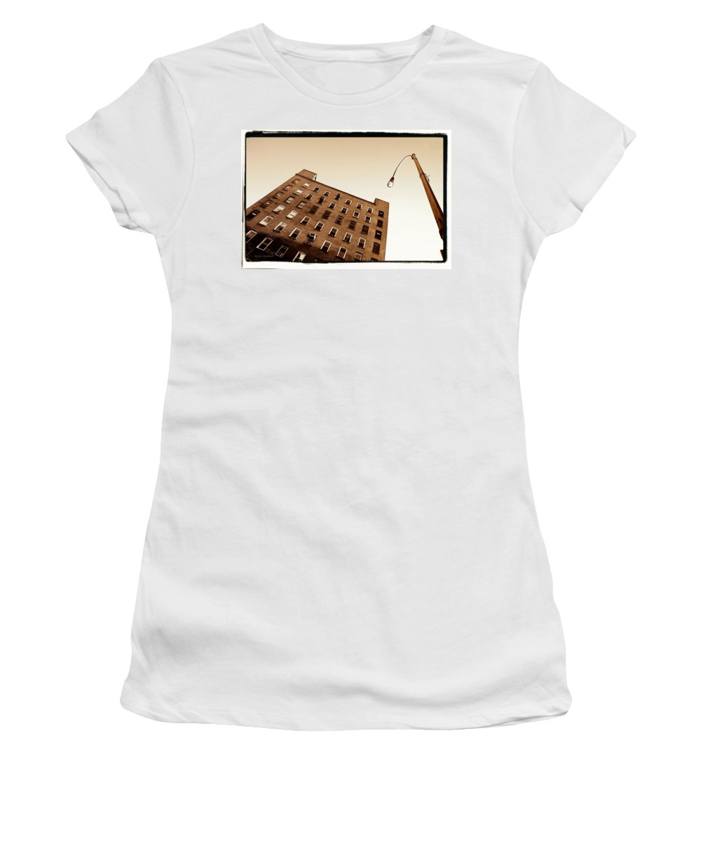 New York Women's T-Shirt (Athletic Fit) featuring the photograph Under The Street Lamp by Donna Blackhall