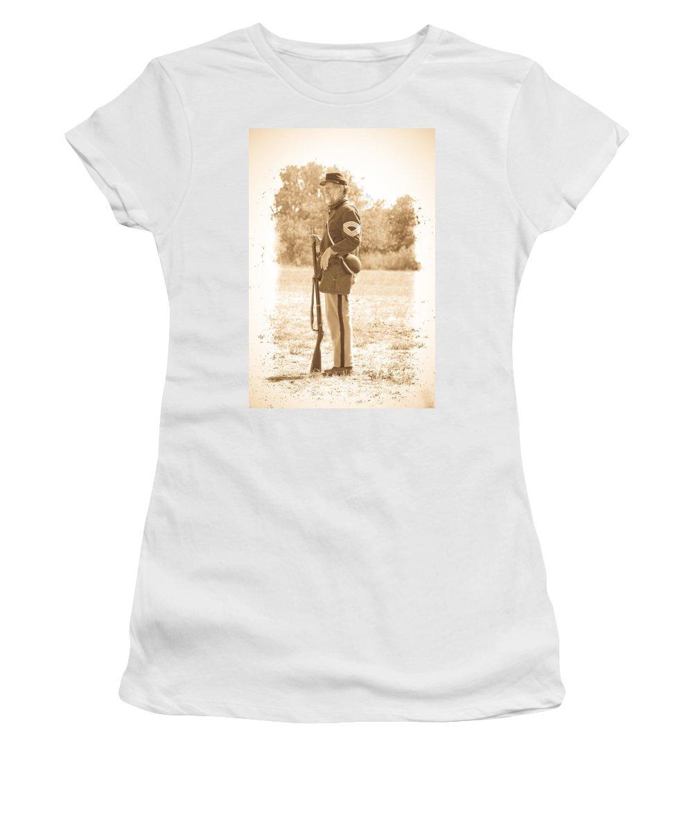 Civil War Women's T-Shirt (Athletic Fit) featuring the photograph Union Soldier by Steve McKinzie