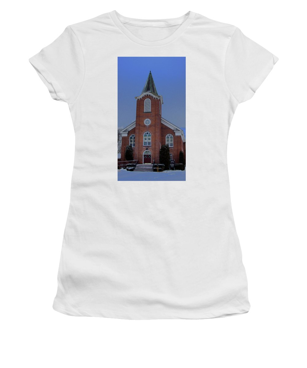 United Methodist Women's T-Shirt (Athletic Fit) featuring the photograph United Methodist Church Lowville Ny by Dennis Comins
