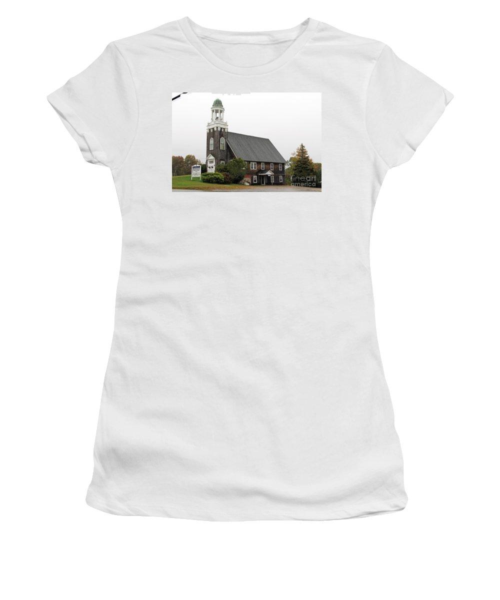 United Methodist Church Women's T-Shirt featuring the photograph United Methodist Church New Harbor Maine by Jack Schultz