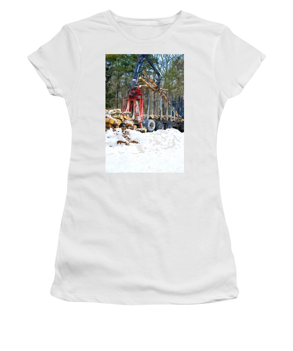 Autumn Women's T-Shirt (Athletic Fit) featuring the painting Unloading Of Logs On Transport by Jeelan Clark