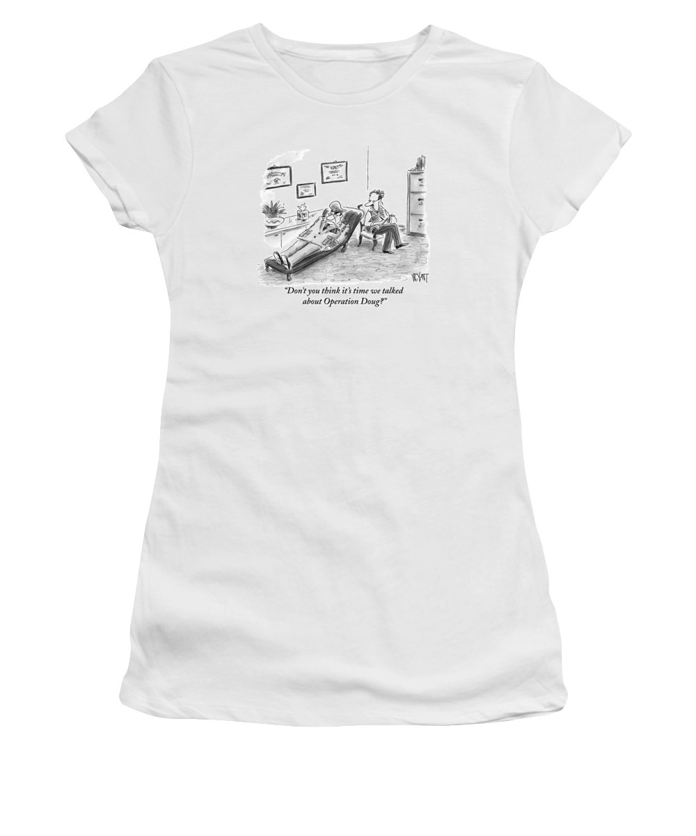 Army Women's T-Shirt featuring the drawing Don't You Think It's Time We Talked by Christopher Weyant