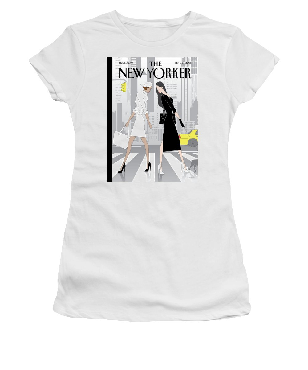 Crosswalk Women's T-Shirt featuring the painting Crosswalk by Greg Foley