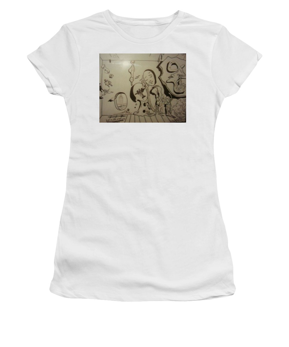 Women's T-Shirt (Athletic Fit) featuring the drawing Untitled by Jude Darrien