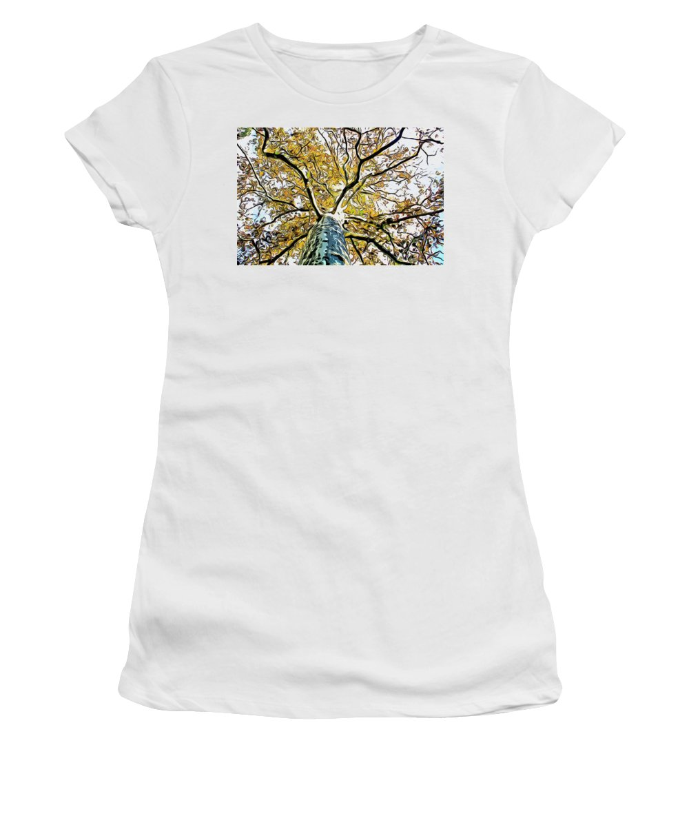 Tree Women's T-Shirt (Athletic Fit) featuring the photograph Up Into The Tree by Alice Gipson