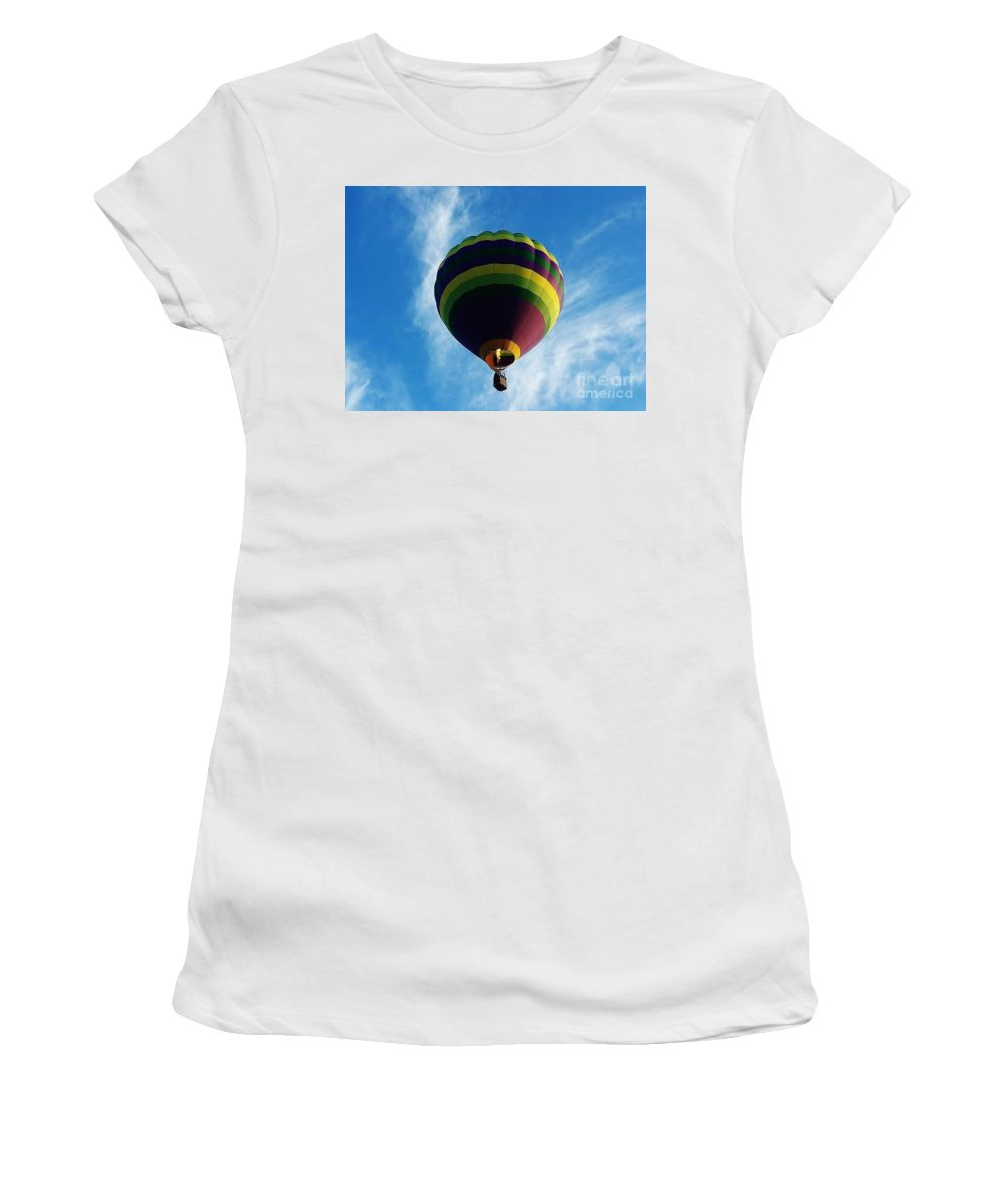 Hot Air Balloon Women's T-Shirt (Athletic Fit) featuring the photograph Up Up And Away by D Hackett