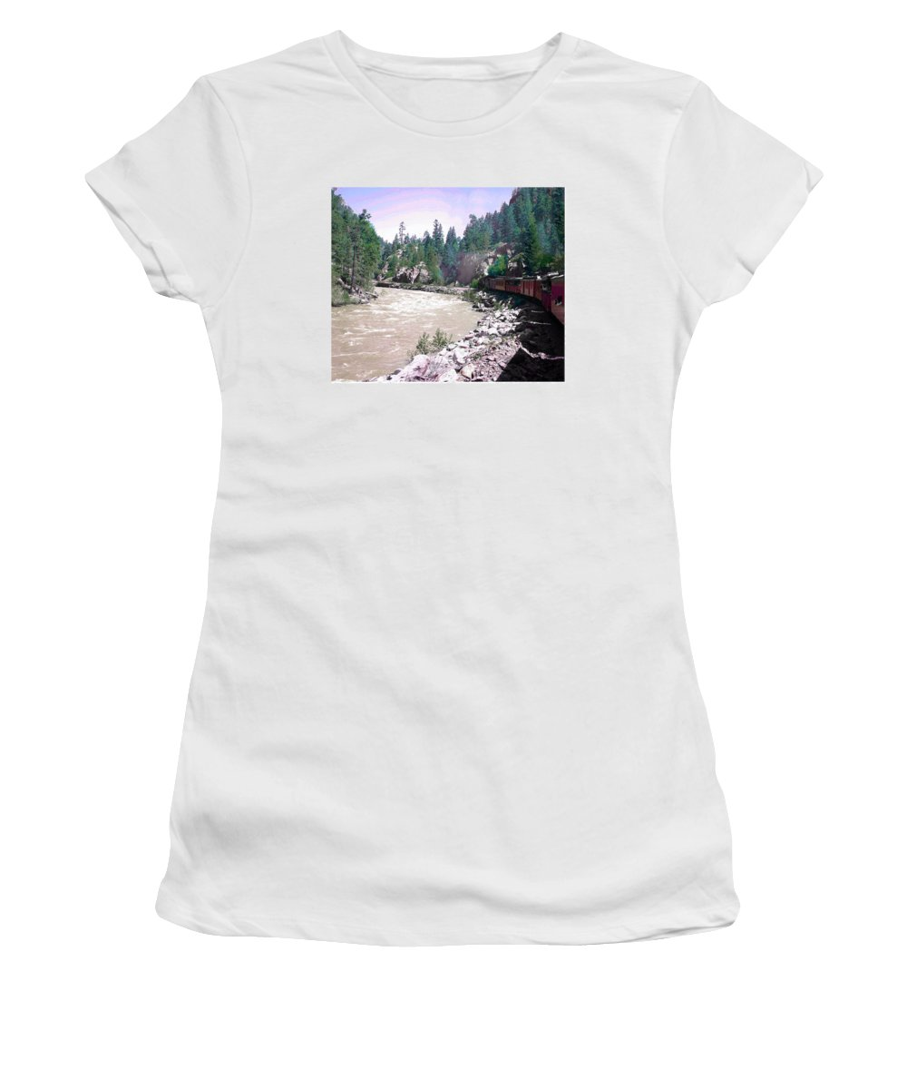 Heading Uphill To Silverton Women's T-Shirt (Athletic Fit) featuring the photograph Uphill To Silverton by Jack Pumphrey