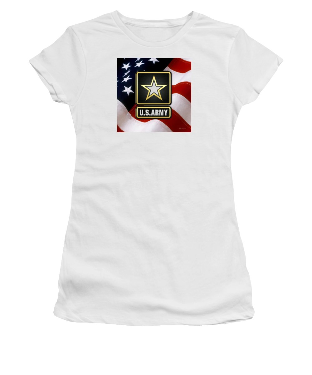 'military Insignia & Heraldry 3d' Collection By Serge Averbukh Women's T-Shirt (Athletic Fit) featuring the digital art U. S. Army Logo Over American Flag. by Serge Averbukh