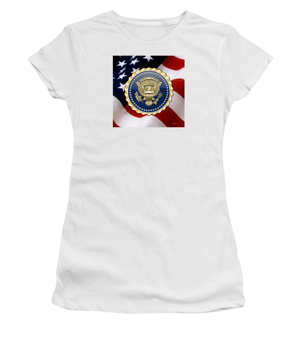 'military Insignia & Heraldry 3d' Collection By Serge Averbukh Women's T-Shirt (Athletic Fit) featuring the digital art Presidential Service Badge - P S B Over American Flag by Serge Averbukh