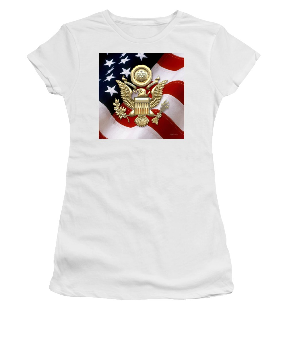 C7 World Heraldry 3d Women's T-Shirt (Athletic Fit) featuring the digital art U. S. A. Great Seal In Gold Over American Flag by Serge Averbukh