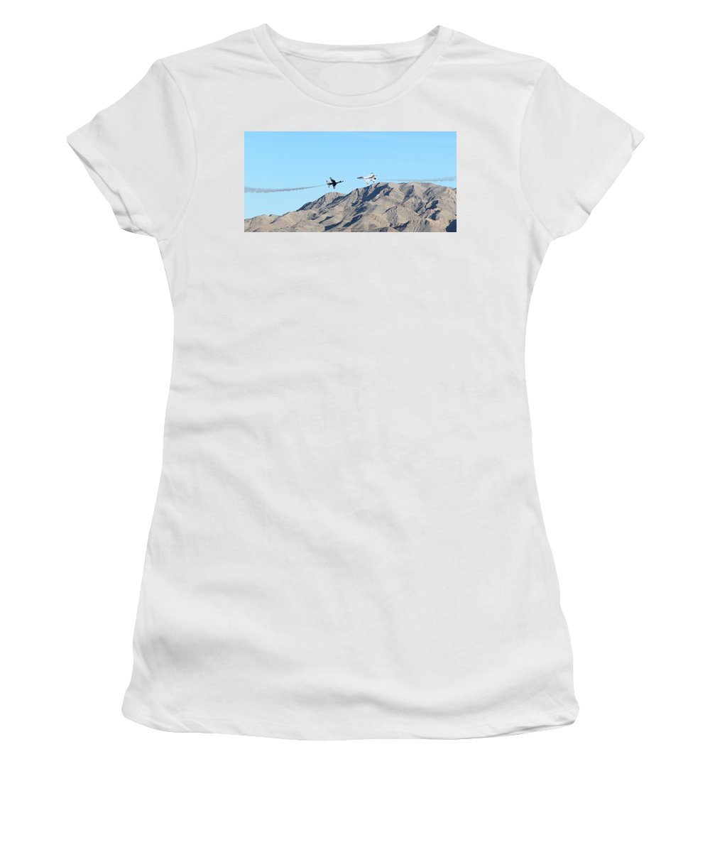 F16s Women's T-Shirt (Athletic Fit) featuring the photograph Usaf Thunderbirds Precision Flying One by Carl Deaville
