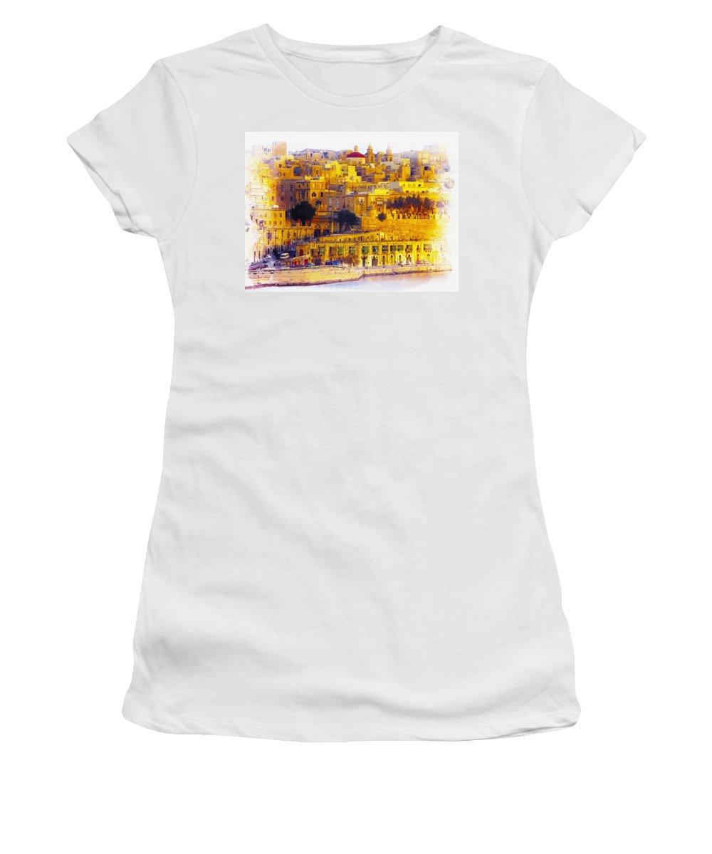 Water Women's T-Shirt featuring the digital art Valletta Capital Of Malta by Don Kuing