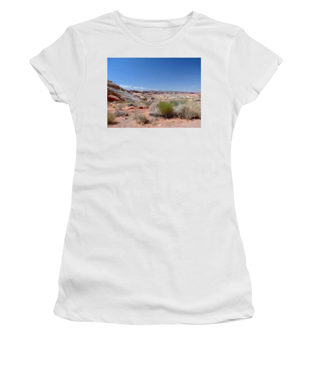 Valley Of Fire State Park Women's T-Shirt (Athletic Fit) featuring the photograph Valley Of Fire 1 by Tracy Winter