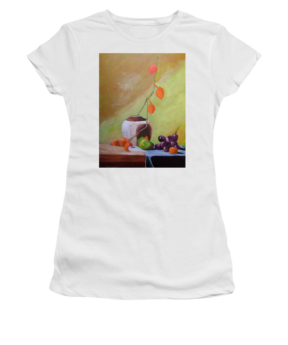 Still Life Women's T-Shirt (Athletic Fit) featuring the painting Vase With Orange Leaves And Fruit by Scott Bowlinger